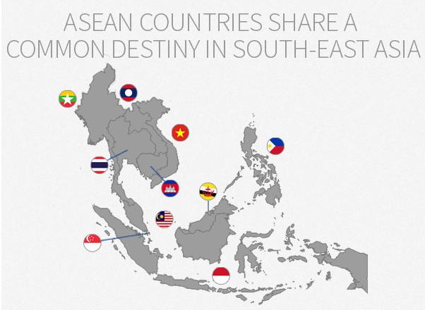 La carte de l'Asie du Sud-Est. Source: http://aseanup.com/asean-infographic-economy-demography/