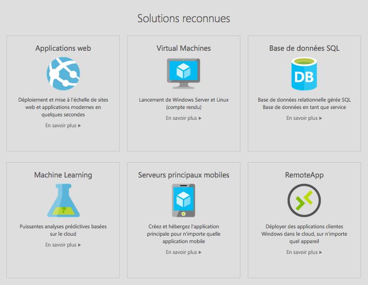 Voici les solutions reconnues et proposées par Microsoft Azure sur leur site internet.