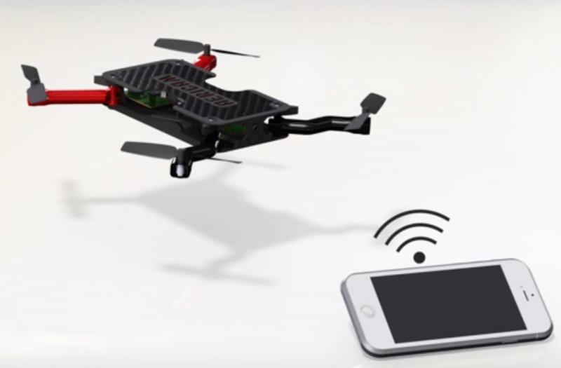 Objets connectés drone, illustration