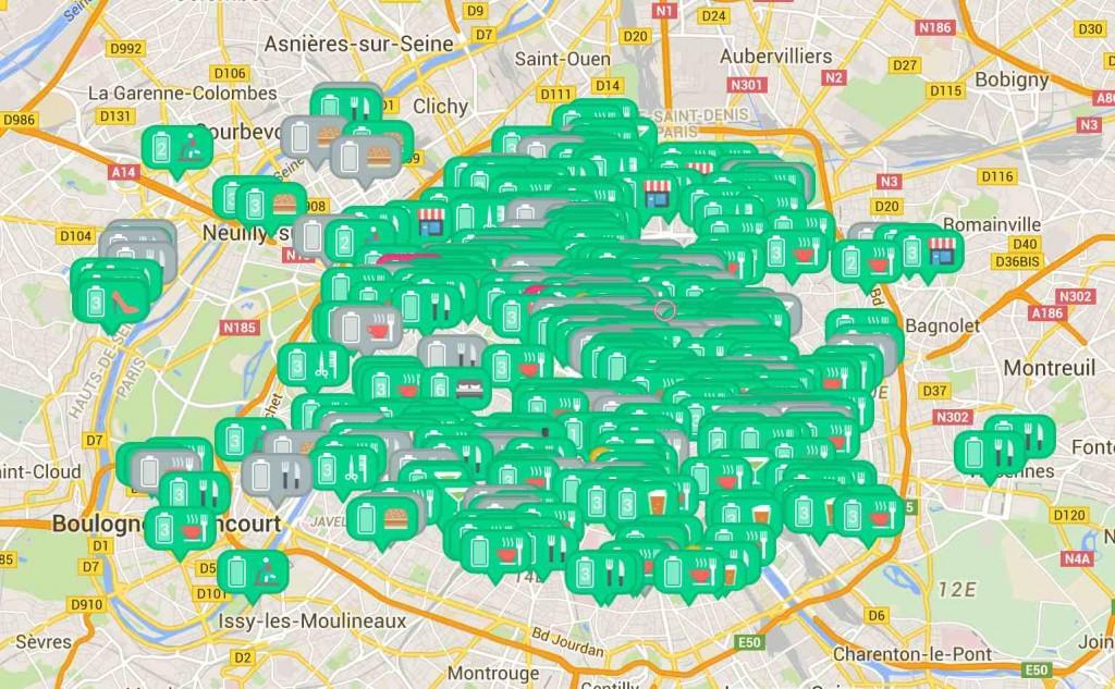 map bubbles paris recharger smartphone