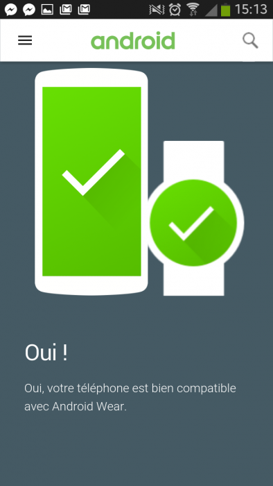 compatibilité Android Wear avec Samsung Galaxy S3
