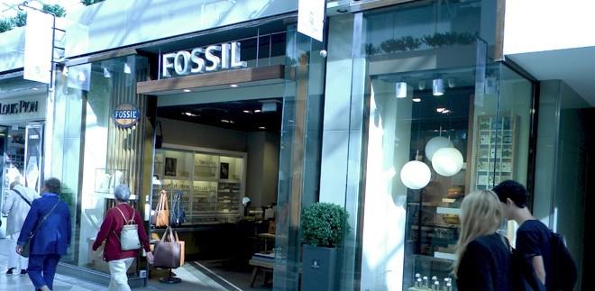 devanture d'une boutique fossil