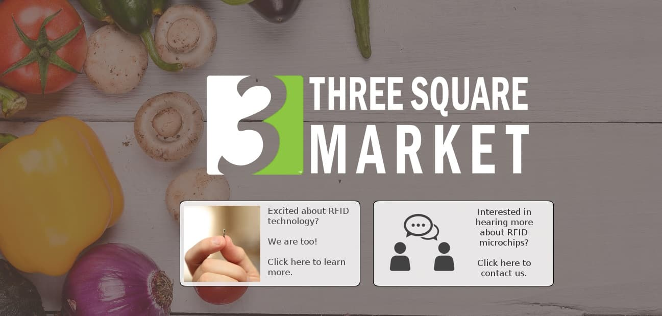 three square market puce rfid sous cutanée